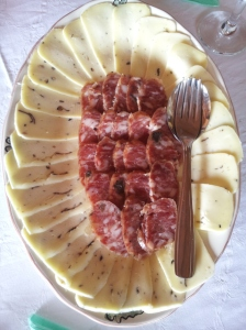 truffle-flecked cheese and sausage