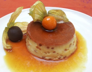 Coconut crème caramel with glazed physalis