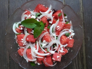 watermelon-sweet onion salad