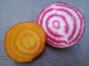 gold and candy cane beets
