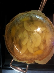 Quince simmer in sugar water