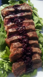 Steak with red wine shallot sauce