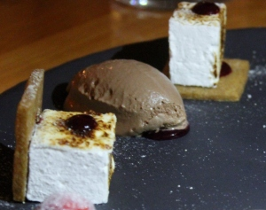 Upscale s'mores with homemade marshmallows and smoked chocolate ice cream