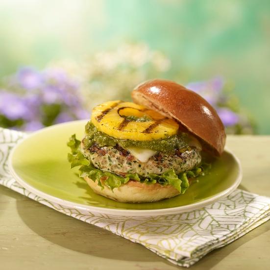 Grilled Pineapple & Pesto Turkey Burgers courtesy Dole